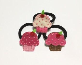 Felt cupcake Hairtie, cupcake ponyholder, felt hairtie, felt elastic, toddler hairtie, felt cupcake, pink cupcake hairtie, cute hairtie,