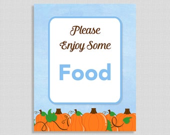 Please Enjoy Some Food Sign, Food Shower Table Sign, Blue Pumpkins, Baby Boy,  INSTANT PRINTABLE