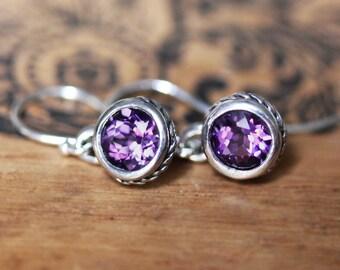 Purple amethyst earrings, drop earrings silver, bezel earrings, February birthstone earrings, bridesmaid gift, braided earring ready to ship