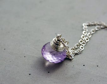 Pink Amethyst Necklace, Amethyst Pendant, Pink Amethyst, February Birthstone, Wire Wrapped, Gemstone Necklace, Gemstone Pendant, PoleStar
