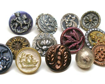 Antique BUTTONS, 13 Victorian metal shabby chic picture buttons, twinkle & picture.