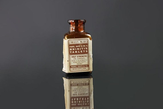 Brown Bottle, Park Davis, Rhinitis Tablets