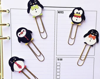 2 x Penguin Page Markers, Planner Clips or Bookmarks, Planner Accessories and Gifts