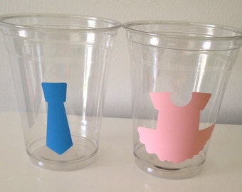12 Gender Reveal Party Cups, Tutus and Ties, Baby Shower Cups, Gender Reveal Party Decor, Pink and Blue, Baby Shower Party Decor