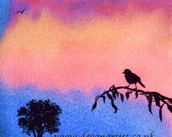 Watercolour Sunset Silhouette , Bird & Tree Landscape