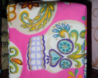 Ready To Ship - Pink Skull Print Pattern - Fabric Tissue Box Cover
