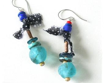 Aqua Assemblage Earrings Mixed Media OOAK Art to Wear Handmade Boho Earrings for Women Bohemian Tribal Urban Primitive