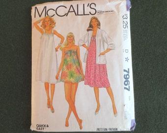 1982 Maternity Dress, Jacket, & Bathing Suit Vintage Pattern, McCalls 7967, Size 10, 12, Bust 32 1/2, 34