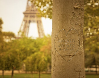 Paris Personalized Wedding Gift - Eiffel Tower Photo - Unique Romantic Gift for Wife - Anniversary Print pp197