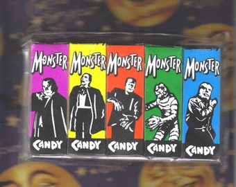 Monster, Vintage, Universal Monster Style, Colorful, Candy Boxes, Dracula, Phantom, Frankenstein, Creature, Wolfman, Set of 5, NOS, Unused!
