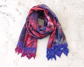 Batik Crocheted Scarf Purple Flocked Luxurious Accessory