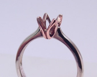 14K white rose gold TULIP solitaire Engagement ring mounting for your gemstone. 5mm thru 7mm Round center stone MMM