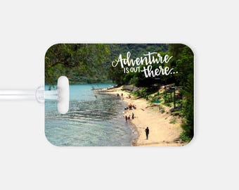 Luggage Tag - Custom Photo and Hand Lettering - Adventure is Out There!