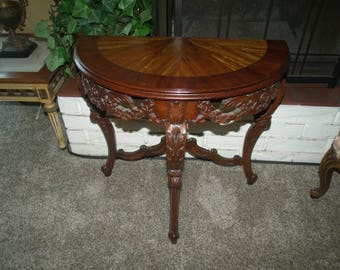 Delightful Circa 1920s French Pierce Carved And Inlaid Demilune