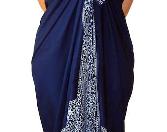 Beach Sarong Pareo Batik Sarong - Navy Blue & White Sarong Womens Clothing Beachwear Wrap Skirt or Dress Swimsuit Coverup