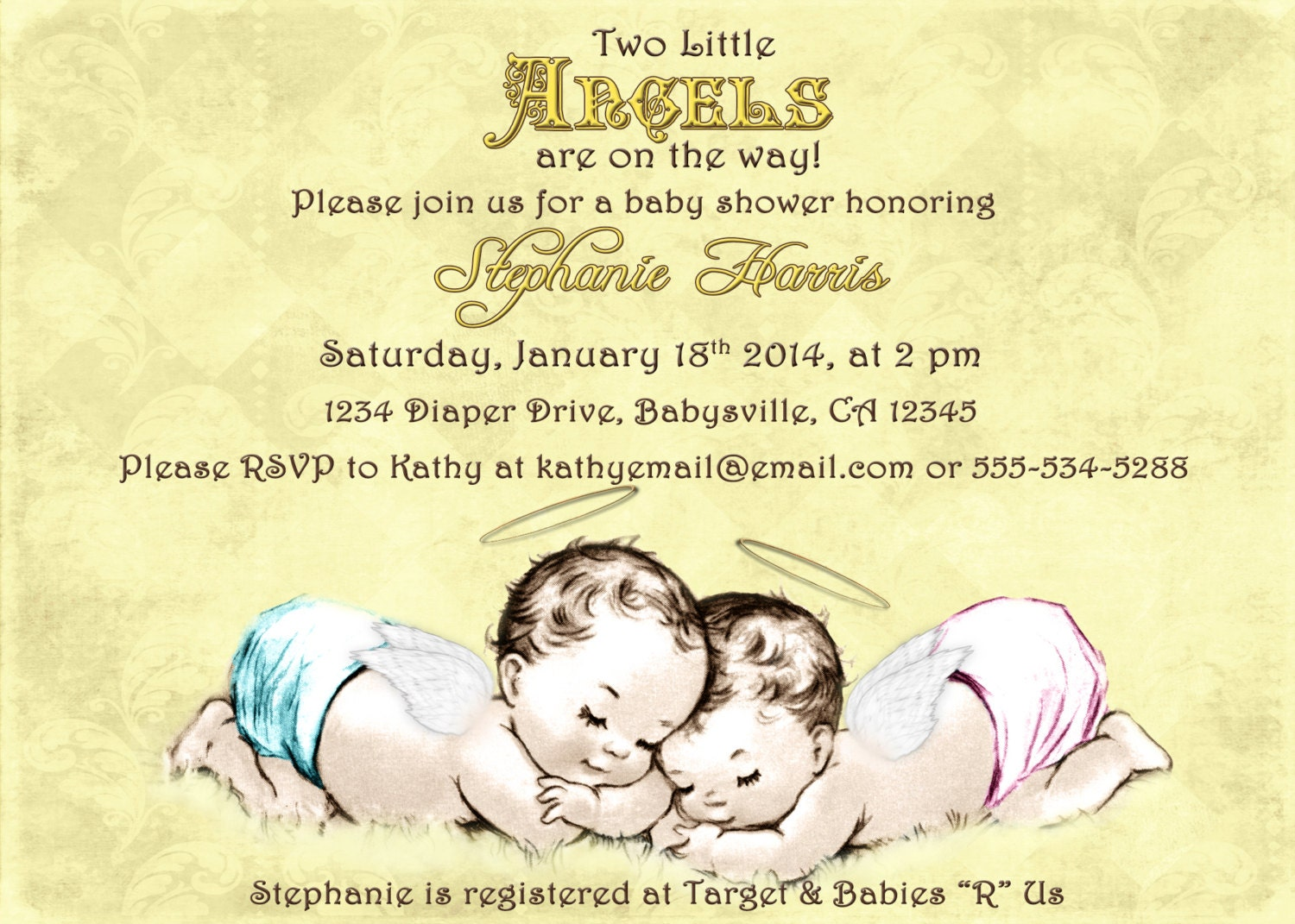 Twins Baby Shower Boy and Girl Baby Shower Invitation For