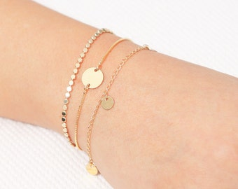 Dainty Gold Bracelet, Tiny Disc Bracelet, Layered Bracelet, Friendship Bracelet, Disk Gold Or Silver Bracelet, Everyday Jewelry.