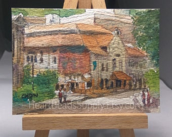 Original Aceo, Rustic Street, old historical colonial buildings, Singapore, houses, watercolor painting, id180118 miniature art landscape