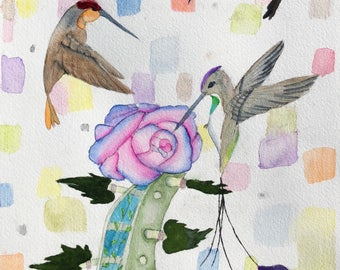 Set of four blank notecards hummingbirds with a violin