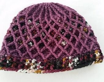 Crochet Lattice Hat / Beanie, overdyed yarn