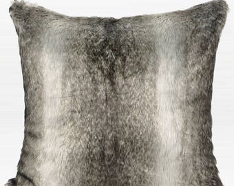 "Luxury Gradient Gray Faux Fur Pillow Cover 20""X20"""