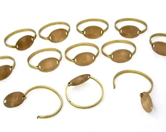 Raw Brass Bracelets With Oval ID Plate Package Of 12