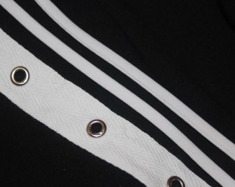 "2 or 10 yards White Silver grommet twill trim tape sewing for Corsets Bustiers Lacing costumes 3/4"" optional cord"