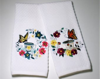 """Butterfly Towel, Butterfly Gift, Dish Towel, Birthday Gift, Hostess, Mothers Day Gift, Book Club Gift, Tea Lover Gift  """"Two For Tea"""""""