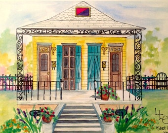 New Orleans Double Yellow Shotgun House