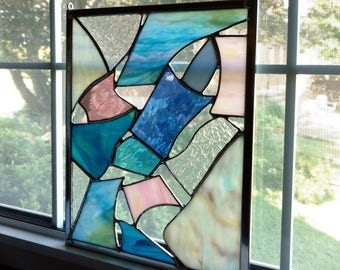 Abstract Stained Glass Window Panel, Blue and Pink, Glass Art, Glass Sculpture, Abstract Art, Privacy Screen, Housewarming Gift, Modern Art