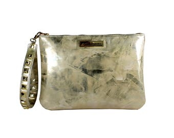Myrna Pouch Abstract Gold Leather