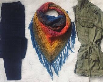 Earthy Rainbow crocheted triangle scarf