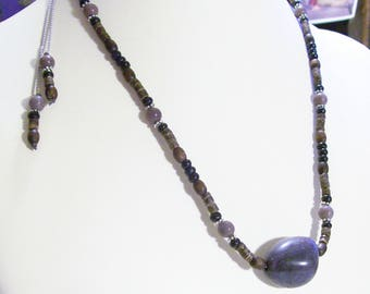 Lavender Stone Men's Masculine Wood And Nut Beads Adjustable
