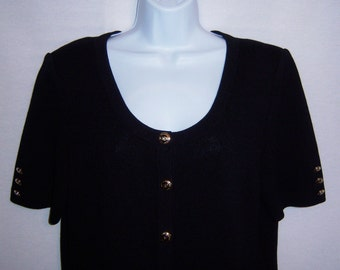 St. John by Marie Gray Black Short Sleeve Santana Knit Sweater Jacket 10 12 Medium Crest Buttons St. John Basics