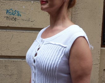 Blouse with buttons closure, buy top female, order, white top / woman point / / amazing Handmade, knitt, knitting, handmade, coat