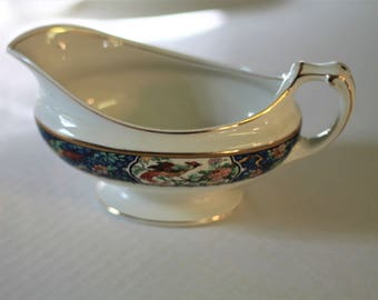 Vintage Antique W H Grindley Braintree Bird of Paradise Royal Blue Gravy Boat
