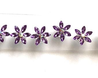 Purple Flower Crystal Rhinestone Hair Coils Twists Spirals Hair Pins, Prom, Bride Maids, First Communion (Pack of 12)