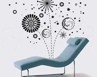 Wall decals GEOMETRIC FIREWORKS Vinyl art graphics for modern interior decor by Decals Murals (Medium)
