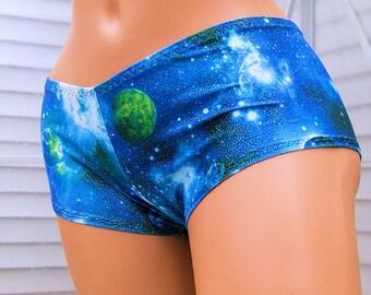 Blue Green Galaxy Lycra Boy Booty Shorts Adult Adult XS XSmall- MTCoffinz  - Ready to Ship