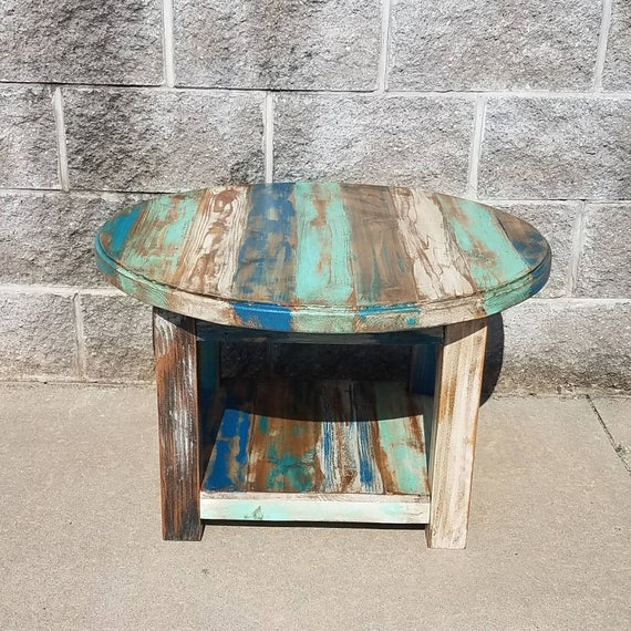 Reclaimed Wood Coffee Table Round: Reclaimed Wood Round Coffee Table Farmhouse Coffee Table