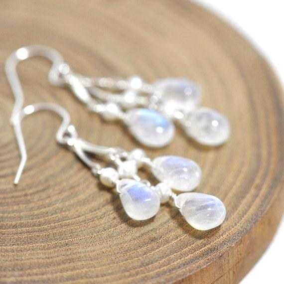 Moonstone Earrings in Silver, Wedding, June Birthday Gift, June birthstone Jewelry, Moonstone Jewelry, Wife Gift, bridal jewelry