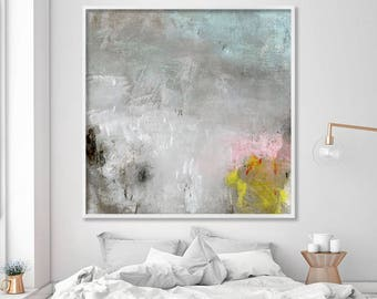 "large Print on Canvas, Giclée print, modern art up to 40x40"" Abstract Art large wall art, grey pink yellow"