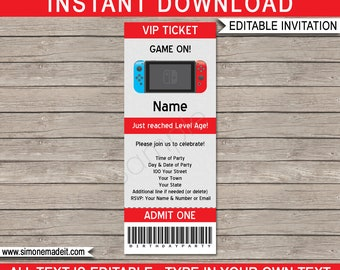 Video Game Party Ticket Invitation Template - Printable Video Game Birthday Party Invite - Gamer Theme - INSTANT DOWNLOAD with EDITABLE text