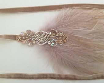Gold 1920s headband, great Gatsby headband, beige feather headband, flapper headband, beaded fascinator, wedding bridal fascinator