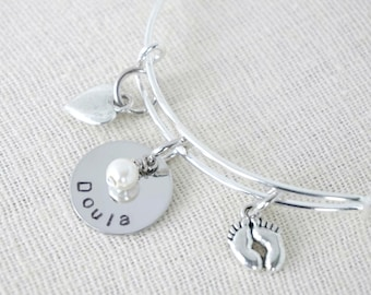 Doula - Midwife - Nurse Gift - Charm Bracelet - Hand Stamped - Customized