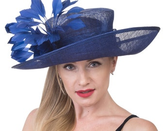 Royal Blue with  Feathers  Flowers Kentucky Derby Hat, Church Hat , Tea Hat Wide Brim Sinamay Hat 7501
