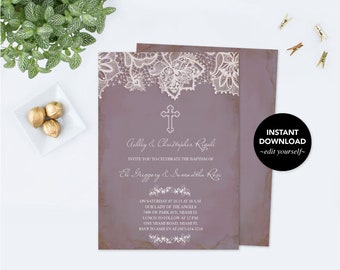 Girl first communion invitation first communion girl first editable twins baptism invitation baptism invitation twins baptism diy invitations editable template solutioingenieria Choice Image
