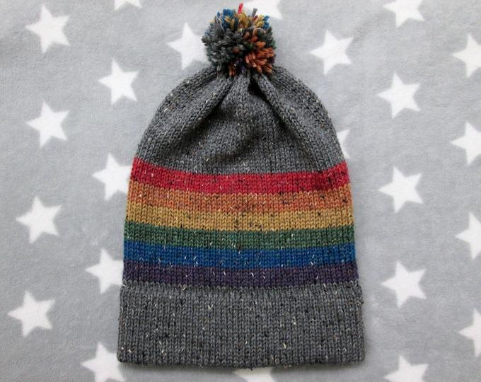 Knit Pride Hat - LGBT Rainbow - Grey Wool Tweed