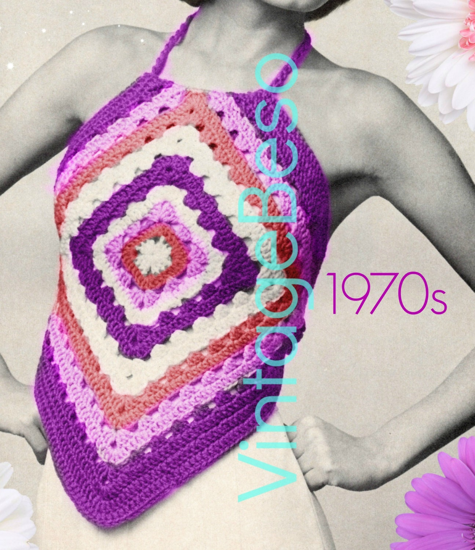 Top Crochet Pattern • 1970s Halter Top Crochet Pattern Granny Square ...