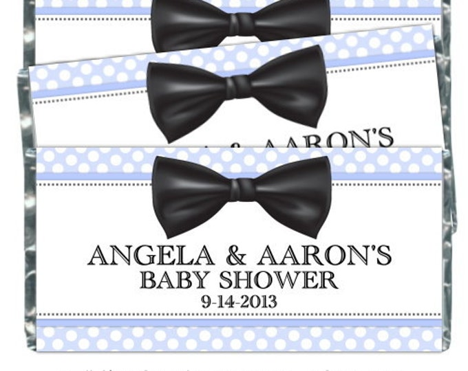 Printable Candy Wrappers, Bow Tie Custom Candy wrappers - fit over chocolate bars - CUSTOM design for you - baby shower